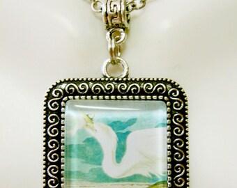 Great white crane pendant with chain - BAP02-018