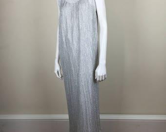 pleated silver lamé grecian maxi column dress Alice of California 60s