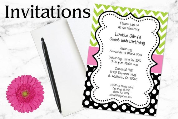 Birthday Invitations - Chevron Invitations - Dots - Black - Lime Green - Pink - Party Invitations - Invitations, Digital - Print Invitations
