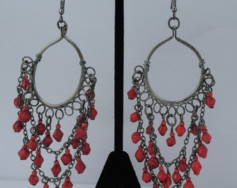 Red Glass Bead Chandelier Earrings from Jamaica 1980s