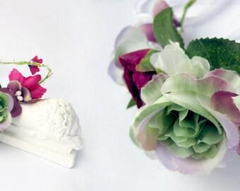 bridal flower crown, purple bridal hairpiece, wedding headpiece, floral, hair accessory, hair vine, floral circlet, purple hairpiece