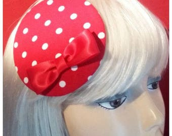 Lovely polkadot headpiece, red and white!