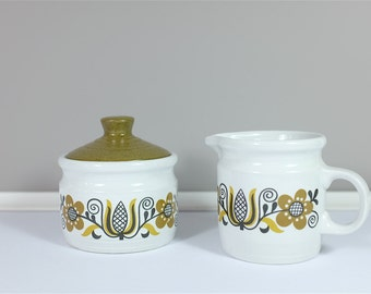Vintage Myott Folklore cream and sugar set ceramic - Myott Folklore creamer  - Vintage cream and sugar set from the seventies