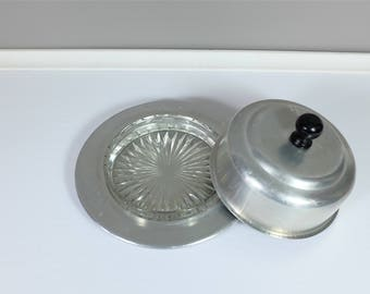 Vintage round aluminium and glass butter keeper - retro butter dish - Retro round covered butter dish cut glass and aluminium