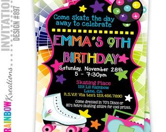 897: DIY - Retro Skate Party Invitation Or Thank You Card