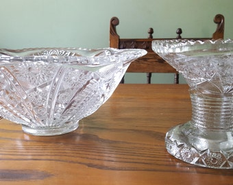 EAPG Glass punch bowl,  with stand.