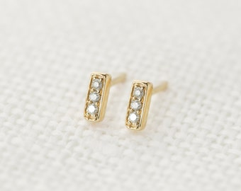 Pave diamond bar stud earrings in 14k solid yellow gold, tiny simple minimalist diamond bar stud earrings, white gold, rose gold, bar-e101-3