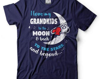 Grandparents T-Shirt Gift For Grandfather Grandmother Tee Shirt I Love My Grandkids Tee Shirt