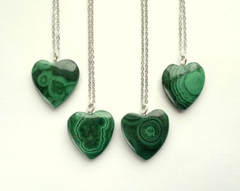 Malachite Necklace Malachite Pendant Malachite Jewelry Green Heart Necklace Malachite Heart Pendant Stone Heart Jewelry Green Stone Necklace