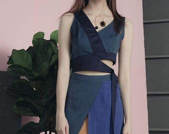 Classic 60s Collection champagn/blue irregular cut chic designed top