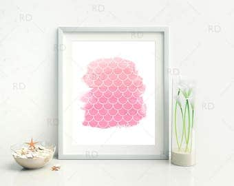 Mermaid Scales on Shades of Pink Watercolor - PRINTABLE Wall Art / Mermaid print / Mermaid art print / Nautical art / 2 for price of 1!