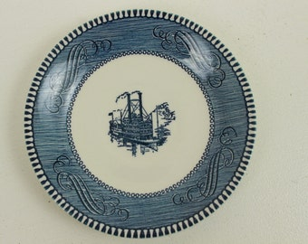 Vintage Blue Transferware, Currier and Ives, Saucer, Boat, Riverboat Design
