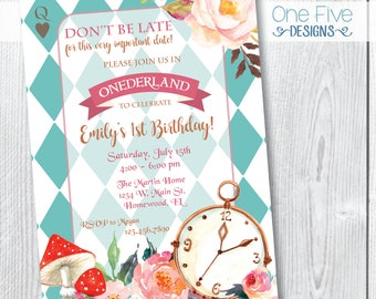 Watercolor Alice In Wonderland Birthday Party Invitation, Watercolor Alice In Onederland Birthday Party Invitation - Printable (5x7)
