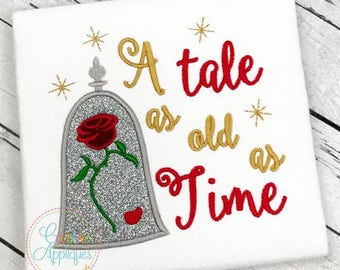 A Tale as old as Time Rose Princess Applique Machine Embroidery Design 4 Sizes, princess belle, beauty princess, rose dome applique