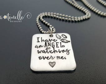 Angel Wing Necklace, Personalized Memorial Necklace, Remembrance Jewelry, Loss of Father, Loss of Husband, Loss of Baby, Loss of Child
