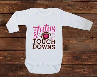 Baby Girl Tee Shirt - One Piece Bodysuit - Football Pink Tutus