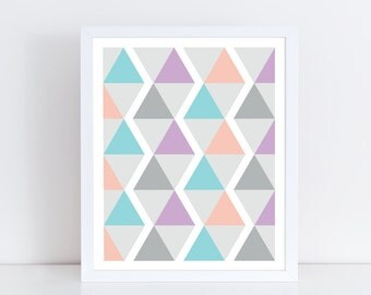 Geometric print / Triangle print / Nursery art / Kids decor / Nursery print girl / Kids print / Children print / Kids wall art /Playroom art