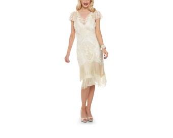 US10 UK14 AUS14 EU42 Vegas Cream Flapper Dress 1920s Great Gatsby Downton Abbey Bridesmaid Wedding reception Bridal Shower Rehearsal Dinner