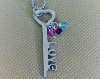 Stainless steel necklace heart key with love  choose the length of necklace  mothers day gift