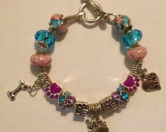 Precious Pug European Style Charm Bracelet