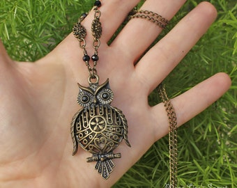 Owl Long Necklace, Bronze Filigree Owl Necklace, Owl with Black Eyes Necklace, Owl Jewelry, Wizdom Symbol Jewelry, Christmas Gift