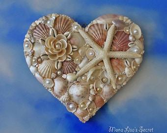 Seashell Heart, Beach Wedding Decor, Seashell Decoration, Coastal Decor, Heart Mosaic, Heart Wall Art, Mixed Media Heart, Mothers Day Gift