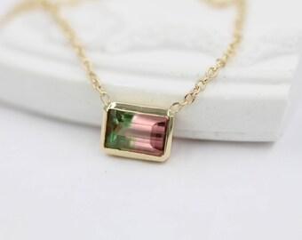 watermelon tourmaline necklace 14k solid gold necklace genuine tourmaline necklace solitaire necklace bi-Color tourmaline
