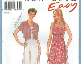 1995 Misses' Dress in two lengths, Bolero Jacket  Uncut Factory Folded Size 8-18 - Vintage Simplicity New Look Sewing Pattern 6364
