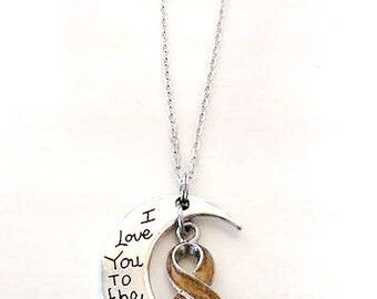 Gold Childhood Pediatric Cancer Awareness I Love You To the Moon and Back Necklace You Select Chain Material and Length