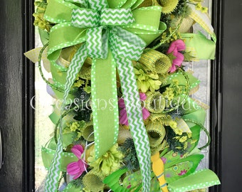 Last one! Spring Door Swag, Summer Swag, Spring Wreath, Summer Wreath, Floral Wreath, Large Wreath, Deco Mesh, Green and Yellow