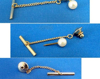 Vintage Pearl and Gold Tie Tack with Chain and Bar