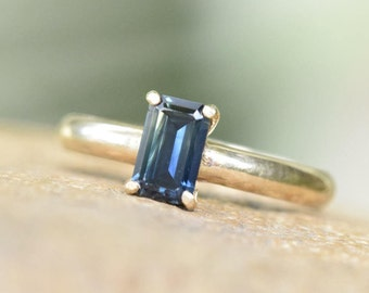 Baguette sapphire ring, emerald cut ring, blue green sapphire engagement ring, alternative promise, simple classic solitaire, 9K 9ct gold