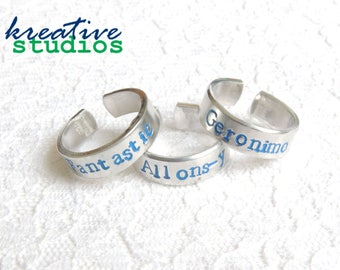 Doctor Catch Phrase Ring - Hand Stamped, Doctor Who, Doctor 9, Doctor 11, Doctor 10, Geronimo, Allons-y, Fantastic, Tardis, Geeky, Nerdy