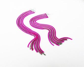 Pink And Silver Earrings, Long Chain Earrings, Long Dangle Earrings, Statement Earrings, Boho Earrings, Elegant Earrings