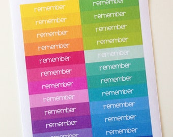 Planner Stickers - Header Stickers Remember