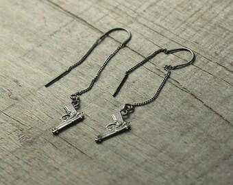 Silver Handgun Earrings, Sterling Silver Gun Earrings, Beretta Gun Earrings, Pistol Jewelry, Tiny Weapon Jewelry, Silver Gun Jewelry