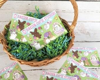 Easter Cutie Sticker Sheets - Kawaii Stickers - ( Cute scrapbook planner egg basket stuffer holiday bunny eggs ) (Pack of 2)