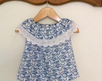 Pretty baby girls swing top, handmade baby girls shirt, lace trim,summer top.size 6-12 months