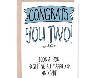 Funny Engagement Card, Funny Wedding Card, Humor Congratulations Card, Funny Card for Couple, Funny Engagement Party Gift