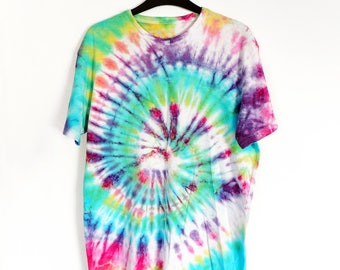 Spiral Green, Purple, Turquoise & Yellow Tie-Dye T-shirt