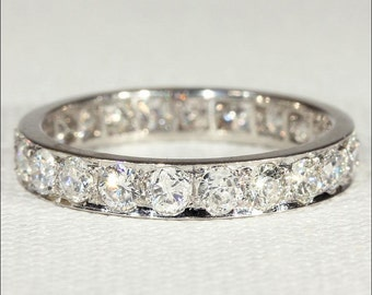 Vintage Diamond and Platinum Eternity Band, Size 8.25 US, 2.2 cttw