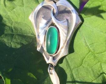 Antique Art Nouveau Chrysoberyl and Plique-a-Jour Pendant in Silver