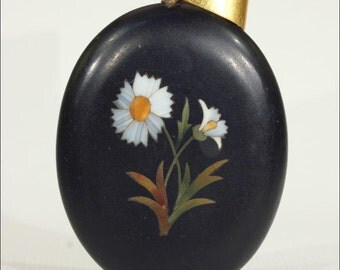 SALE Antique Victorian Pietra Dura Locket Backed Pendant with 15k Gold