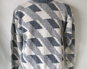 Vintage 80's Men's London Fog Abstract Pullover Sweater
