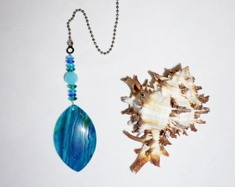 Blue and Green,  Agate Ceiling Fan Pull,   One of a Kind,  Agate Home Decor, Ready To Ship,  Coupon Code