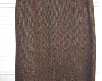 Vintage Tweed Maxi Straight Wool Skirt byHarve Benard Size 14  Smart Brown Herringbone