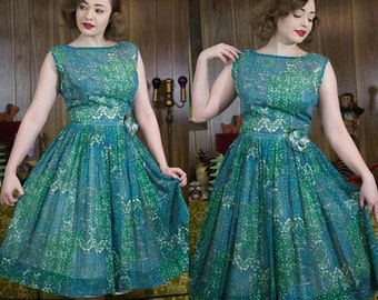 50s Dress | 50s Sundress | 1950s Dress | Batik Print | 50s Floral Dress | 50s Full Skirt | 50s Green Dress | 50s Blue Dress | 50s Day Dress