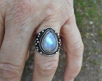 Moonstone ring, rainbow moonstone ring, size 7 ring,moonstone rings, rainbow moonstone rings, teardrop moonstone ring, moonstone jewelry