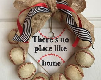 There's no place like home baseball wreath