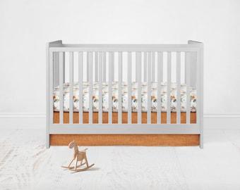 Straight Crib Skirt - Linen Cotton - Rust. Baby Bedding. Crib Bedding. Crib Skirt. Rust Crib Skirt. Flat Crib Skirt.